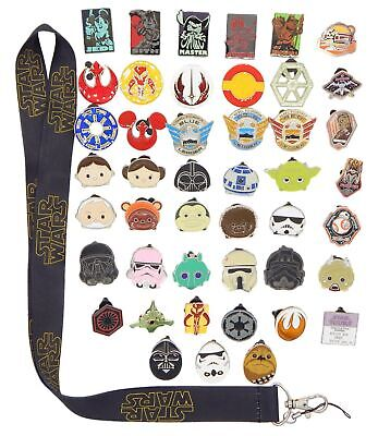 Star Wars Themed Lanyard Starter Set with 5 Disney Park Trading Pins ~ Brand NEW