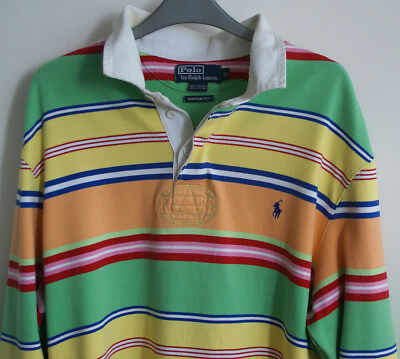 "vintage ralph lauren multicolor long sleeve striped shirt rugby XL 46"" designer"