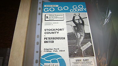 stockport county v peterborough div 3 67/68 programme+review in v good condition