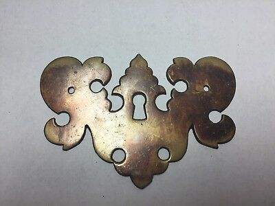 Antique Vintage Brass Escutcheon Keyhole Cover Dresser Drawer Furniture Hardware