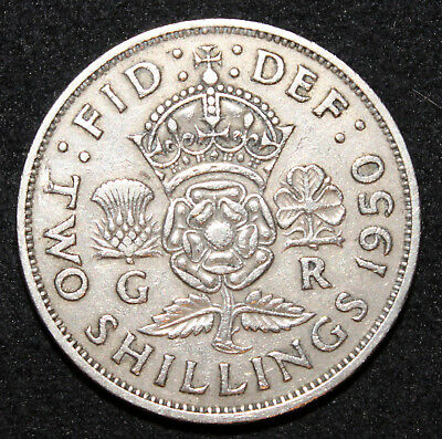 KM# 878 - Two Shillings - Florin - George VI 1950 (VF)