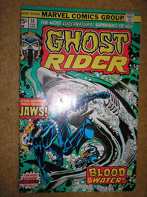 GHOST RIDER # 16 JAWS SHARK GEORGE TUSKA 25c 1976 BRONZE AGE MARVEL COMIC BOOK