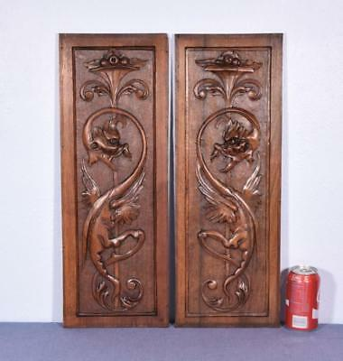 *Pair of Antique French Carved Panels in Walnut Wood with Griffins