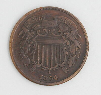 1864 U.s. Union Shield Two Cent Bronze Coin No Reserve