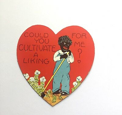 Vtg 30's Black Americana Valentine Day Card Cultivate Cotton