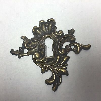 Antique Vintage Brass Escutcheon Ornate Keyhole Cover Dresser Furniture Hardware