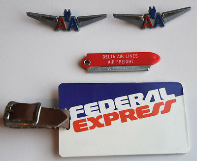 Lot Of 4 Vintage Airline Items * Federal Express American Delta Air Freight