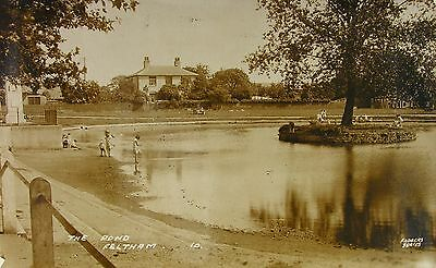 Edwardians By The Pond Feltham Middlesex 1932 Rp Pc