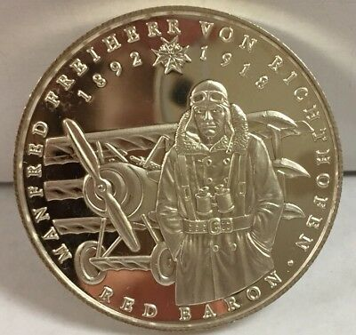 "1988-5 VN Balboas Republica de Panama ""Red Baron"" rare 1 oz. Fine Silver Proof"