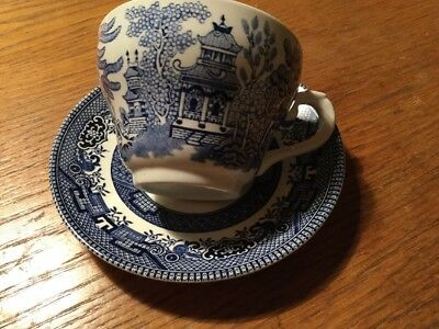 Broadhurst Blue & White Willow Pattern Cup & Saucer Nice Duo VGC!