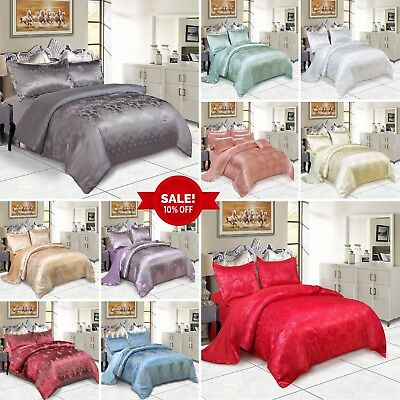 Satin Silk Duvet Cover 4 Piece Bedding Set With Flat Sheet & 2 Pillow Cases King