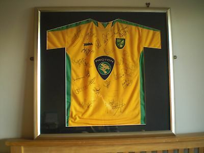 Norwich City Football Club signed shirt circa 2003-2005. Framed & ready to hang.