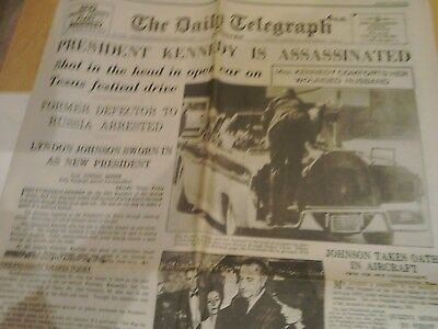 'Kennedy is Assassinated' Daily Telegraph 23 November 1963 reprint