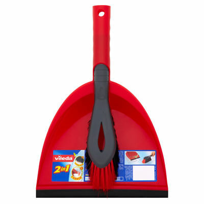Vileda Red Dustpan And Hand Brush Cleaning Set