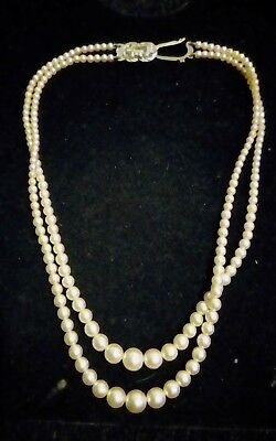 vintage double strand pearl necklace