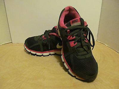 Nike Dual Fusion Girls Size 7 Youth Black Pink Running Shoes 456970-004