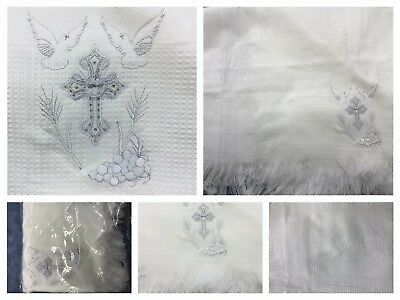 NEW Unisex Baptism Christening Silver Cross Embroidery Bautizo White Blanket