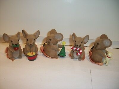 """Lot of 5 Vintage Flocked Fuzzy Christmas Mice George Good Miniature 2""""~Hong Kong"""