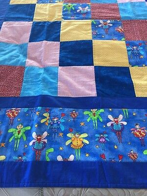 "Handmade patchwork quilt 'little Fairies' Size 52"" X 59"""