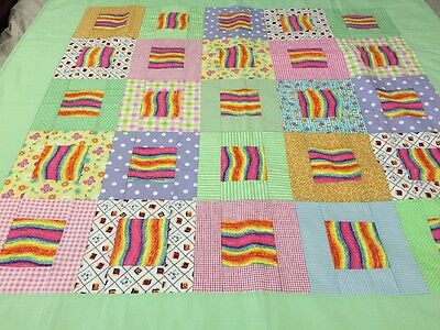 "Handmade patchwork quilt 'child's Colourful' Size 52"" X 52"""