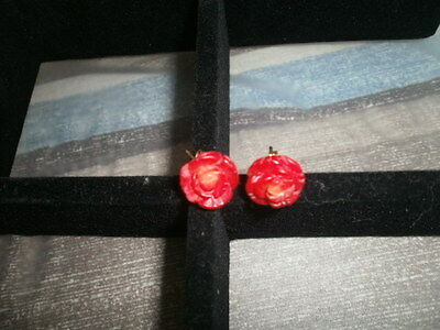Roses Large Carved In Red Coral 14K Stud Ladies Earrings