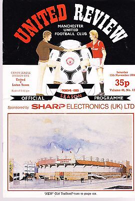 Manchester United Vs Luton Town Football Programme 17 November 1984 Division One