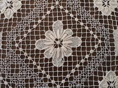 Large Vintage Embroidered Filet Lace Tablecloth Raised Flowers Ecru Lacis 81""