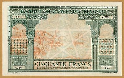 MOROCCO 50 FRANCS ND(1943) VF+/aXF LARGE SIZE BANKNOTE RARE FRENCH COLONIAL NOTE