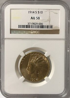 1914-S $10 Gold Indian Head Ngc Au58 #3719829-006 - Sharp Gold Color/luster