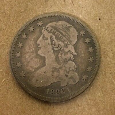 1836 Capped Bust Silver Quarter 25c with Obverse Die Break!
