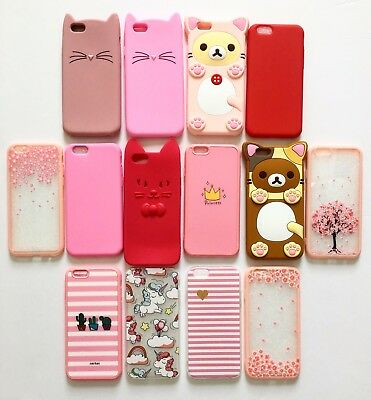 Bulk Lot of 10 Cute Design Silicone Rubber Cases for iPhone 6/6S