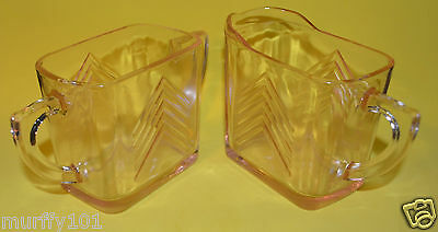 Hazel - Atlas Chevron Pink Depression Glass Cream & Sugar Vintage Glass Creamer