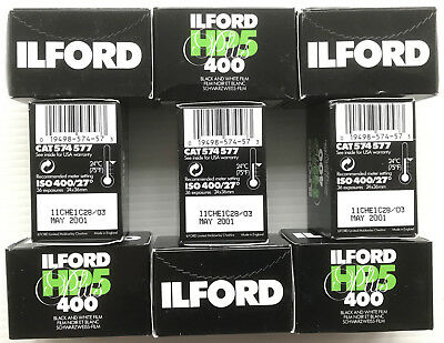 9 Rolls Expired 35mm Ilford HP5 400 36 Exposure B&W Camera Film - Lomography
