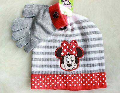 9a95b858f5855 Disney Minnie Mouse Girls Winter Hat Gloves Beanie SET Mittens Kids Toddler  PINK