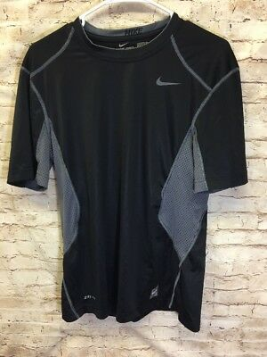 NIKE Pro Combat Dri-Fit Fitted Mens Black Gray Workout Athletic Running Shirt M