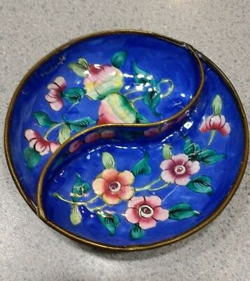 Hand painted blue with flowers enamel yin yang brass trinket dish