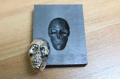1ozt Skull Graphite silver head mold - Great for gold - Glass lampwork push