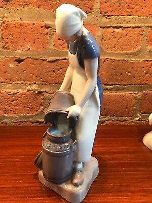 B & G Porcelain  Figurine #2181 Girl With Milk Pail Axel Locher