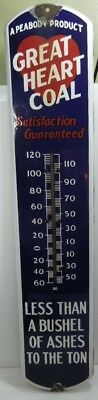 Vintage Large Great Heart Coal Porcelain Thermometer Peabody Product working
