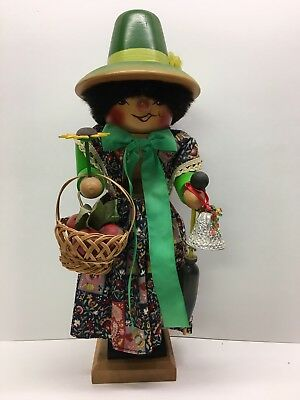 Unusual Vintage German Woman Apple Picker Nutcracker 14""
