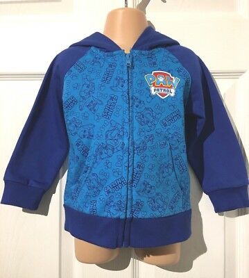 New Ex Store Paw Patrol zipped Hoodie//jacket top Blue ages 2 3 4 /& 5years