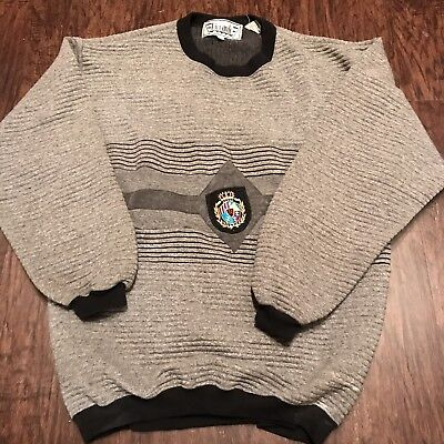 Vintage Hipster 90s RICCARDO Ribbed Sweater Size Large Embroidered Gold Crest
