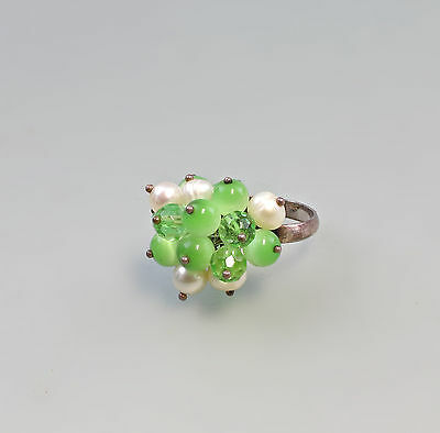 Silver Ring with beads and Green Gemstones 925 Silver Big 55 9927150