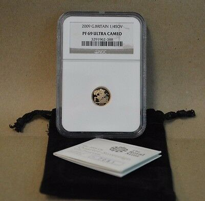 2009 Great Britain 1/4 Sovereign NGC PF 69 Ultra Cameo!