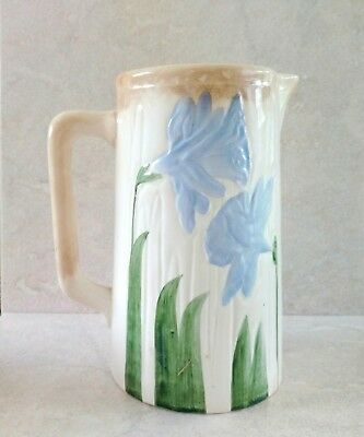 Antique Wheeling Pottery Majolica Water Pitcher Ivory Earthenware Blue Tulips