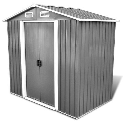 vidaXL Garden Shed Tent Tool Storage House with Foundation 2.7 m³ Grey Metal