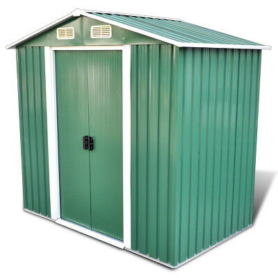 vidaXL Garden Shed Tent Tool Storage House with Foundation 2.7 m³ Green Metal