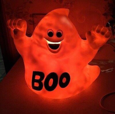 """VINTAGE GHOST BOO 11"""" LIGHTED BLOW MOLD HOLIDAY HALLOWEEN YARD Decoration"""