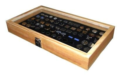Key Locking Wood Glass Top 36 Pair Cufflinks Display Case Box  Choose Pad Color