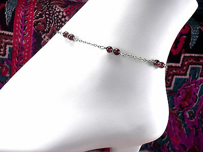 *CKstella*  Genuine Red Garnet  Linked Sterling Silver Anklet Ankle Bracelet
